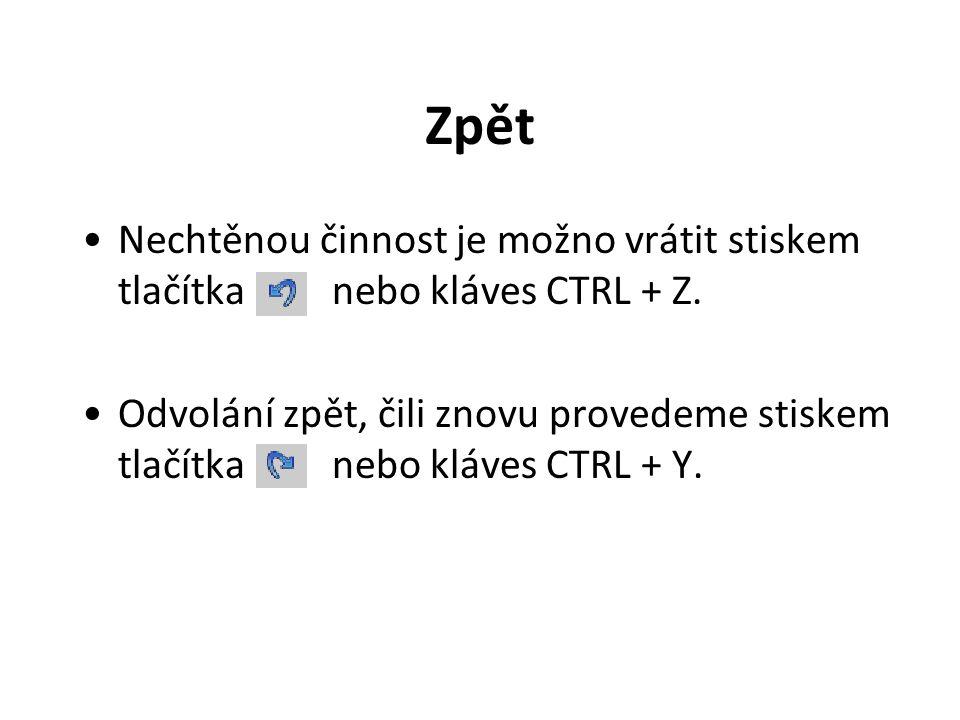 Zpět Nechtěnou činnost je možno vrátit stiskem tlačítka nebo kláves CTRL + Z. Odvolání zpět, čili znovu provedeme stiskem tlačítka nebo kláves CTRL +