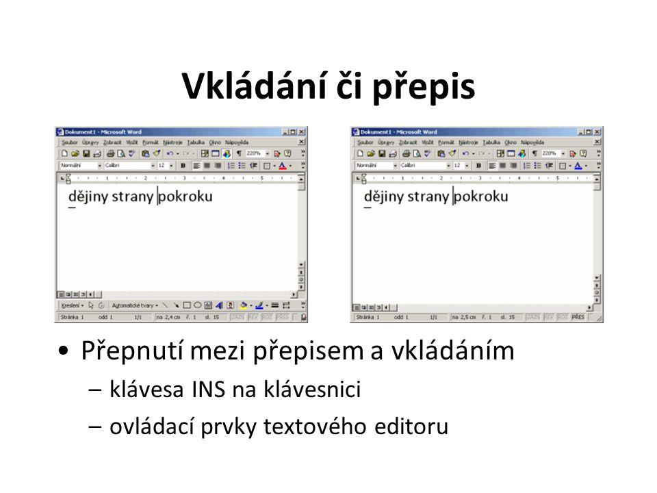 Vkládání či přepis Přepnutí mezi přepisem a vkládáním –klávesa INS na klávesnici –ovládací prvky textového editoru