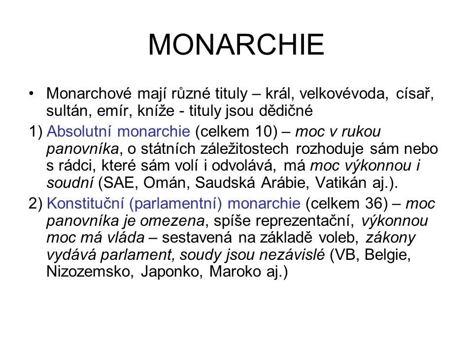 MONARCHIE Monarchové mají různé tituly – král, velkovévoda, císař, sultán, emír, kníže - tituly jsou dědičné 1) Absolutní monarchie (celkem 10) – moc