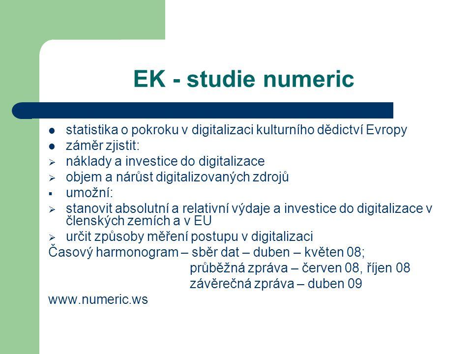 EK - studie numeric statistika o pokroku v digitalizaci kulturního dědictví Evropy záměr zjistit:  náklady a investice do digitalizace  objem a nárůst digitalizovaných zdrojů  umožní:  stanovit absolutní a relativní výdaje a investice do digitalizace v členských zemích a v EU  určit způsoby měření postupu v digitalizaci Časový harmonogram – sběr dat – duben – květen 08; průběžná zpráva – červen 08, říjen 08 závěrečná zpráva – duben 09 www.numeric.ws