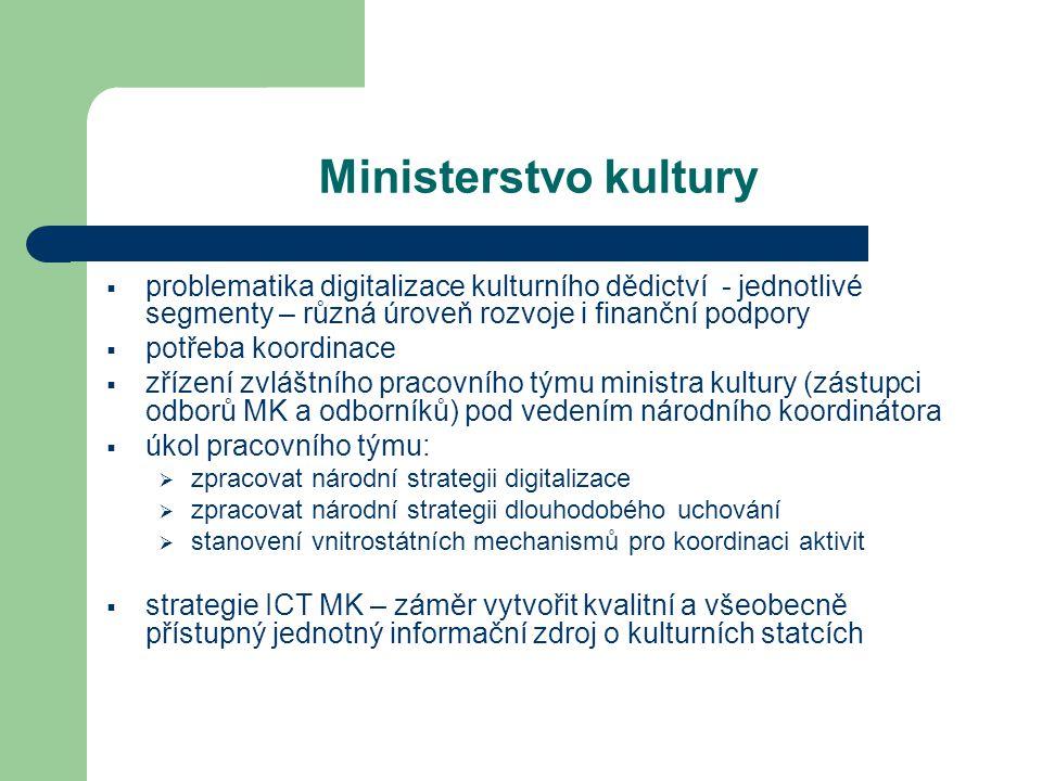 Ministerstvo kultury  problematika digitalizace kulturního dědictví - jednotlivé segmenty – různá úroveň rozvoje i finanční podpory  potřeba koordin