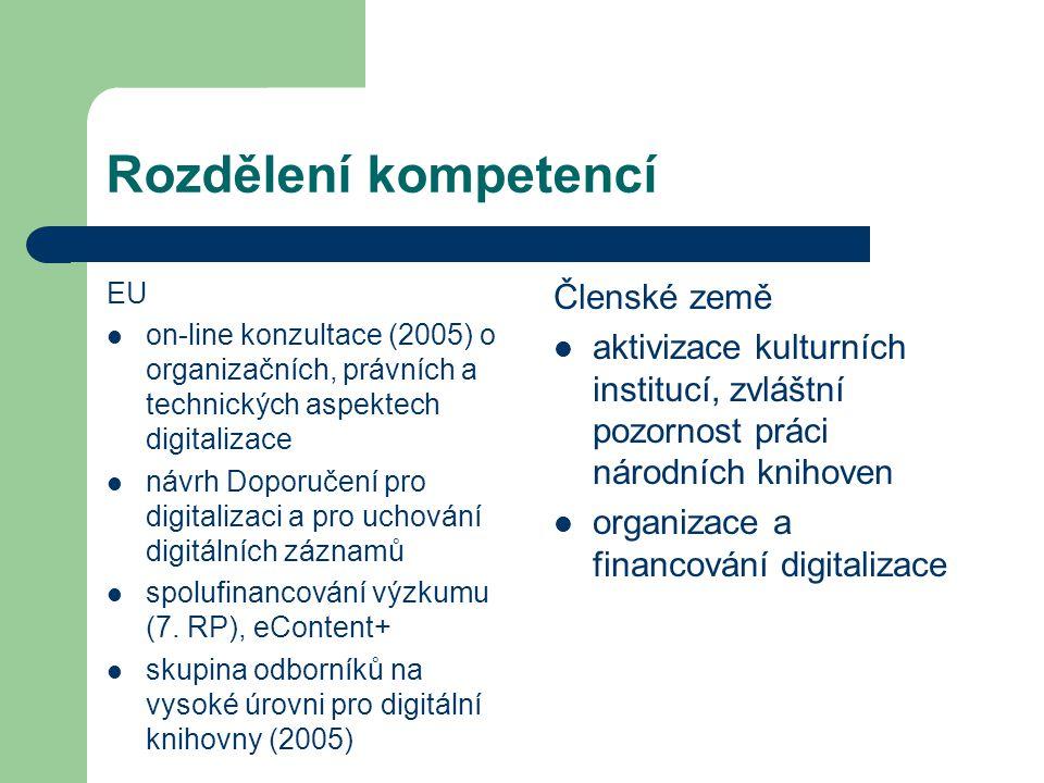 Rozdělení kompetencí EU on-line konzultace (2005) o organizačních, právních a technických aspektech digitalizace návrh Doporučení pro digitalizaci a pro uchování digitálních záznamů spolufinancování výzkumu (7.