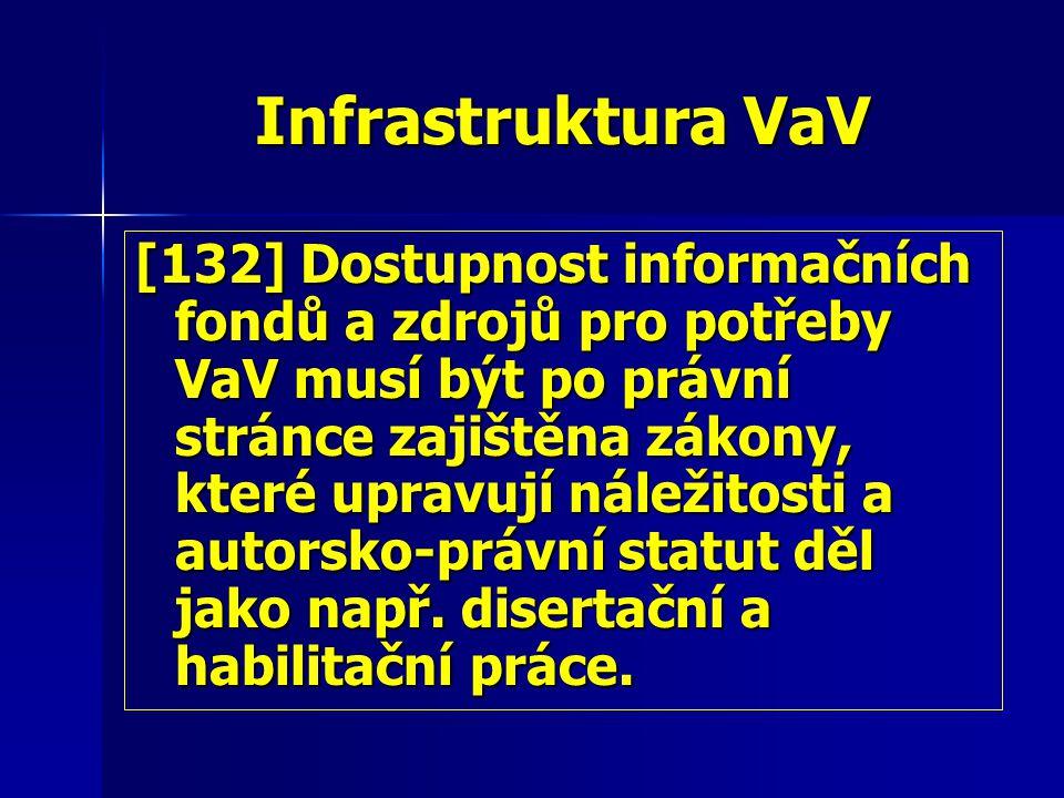 Infrastruktura VaV [132] Dostupnost informačních fondů a zdrojů pro potřeby VaV musí být po právní stránce zajištěna zákony, které upravují náležitosti a autorsko-právní statut děl jako např.