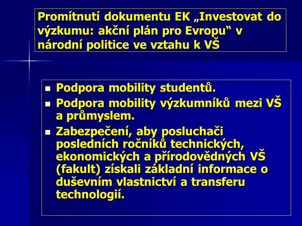 """Promítnutí dokumentu EK """"Investovat do výzkumu: akční plán pro Evropu v národní politice ve vztahu k VŠ Podpora mobility studentů."""