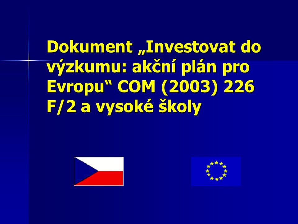"""Dokument """"Investovat do výzkumu: akční plán pro Evropu COM (2003) 226 F/2 a vysoké školy"""