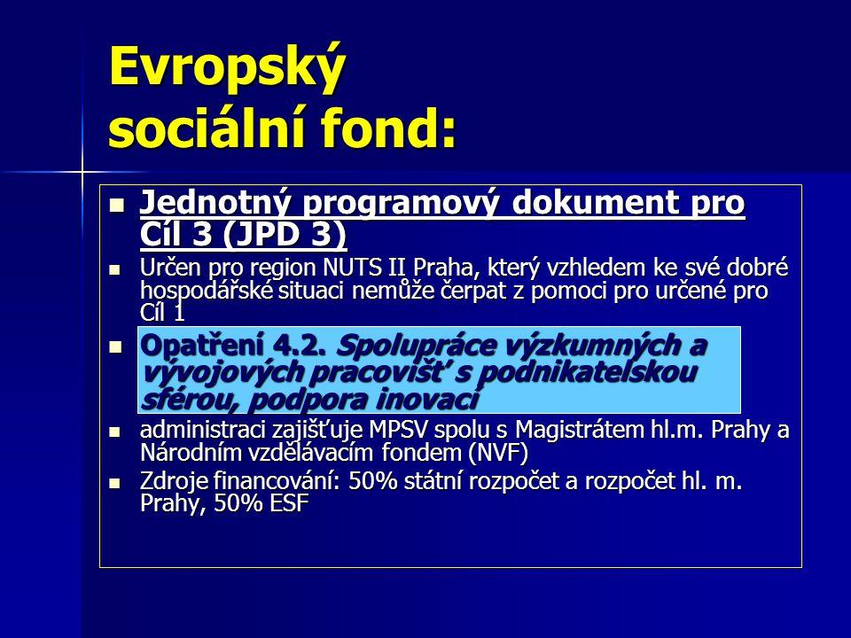 Evropský sociální fond: Jednotný programový dokument pro Cíl 3 (JPD 3) Jednotný programový dokument pro Cíl 3 (JPD 3) Určen pro region NUTS II Praha, který vzhledem ke své dobré hospodářské situaci nemůže čerpat z pomoci pro určené pro Cíl 1 Určen pro region NUTS II Praha, který vzhledem ke své dobré hospodářské situaci nemůže čerpat z pomoci pro určené pro Cíl 1 Opatření 4.2.