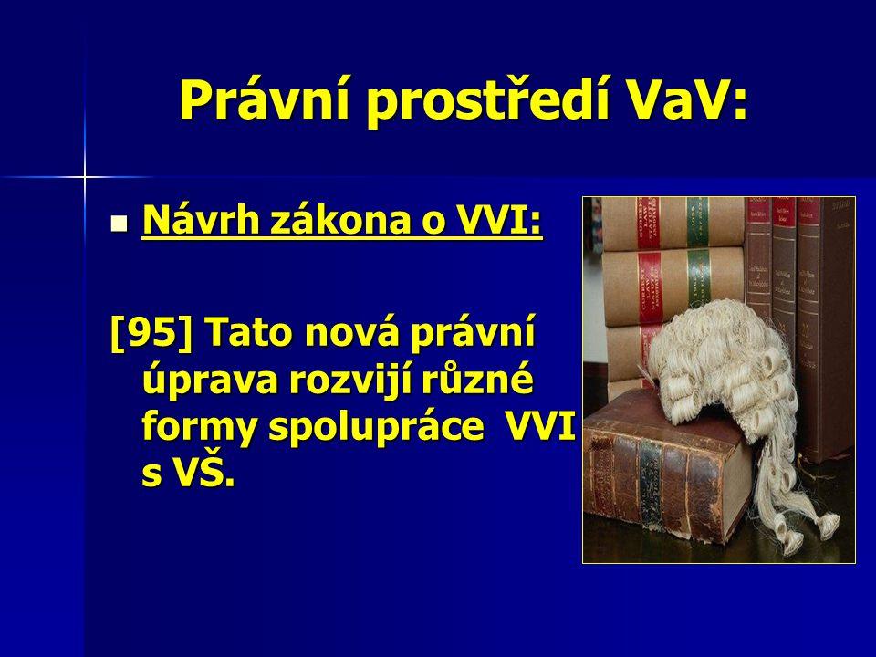 Právní prostředí VaV: Návrh zákona o VVI: Návrh zákona o VVI: [95] Tato nová právní úprava rozvijí různé formy spolupráce VVI s VŠ.