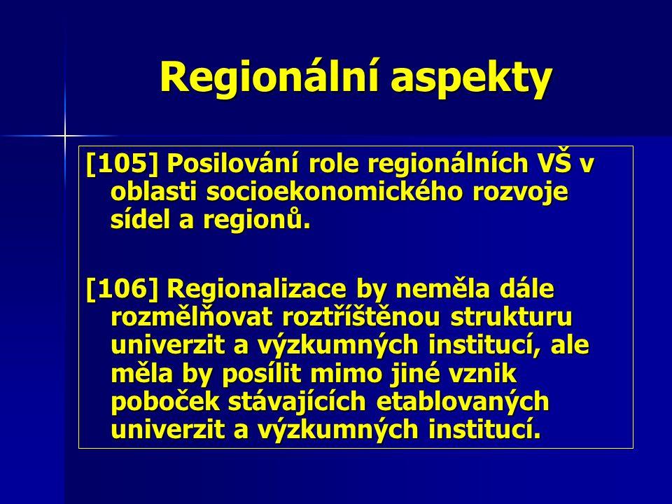 Regionální aspekty [105] Posilování role regionálních VŠ v oblasti socioekonomického rozvoje sídel a regionů.