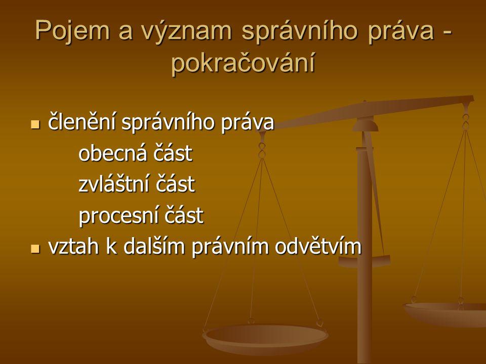 Pojem a význam správního práva - pokračování členění správního práva členění správního práva obecná část zvláštní část procesní část vztah k dalším právním odvětvím vztah k dalším právním odvětvím