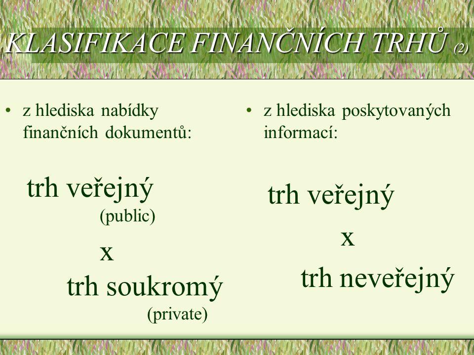 KLASIFIKACE FINANČNÍCH TRHŮ (2) z hlediska nabídky finančních dokumentů: trh veřejný (public) x trh soukromý (private) z hlediska poskytovaných inform