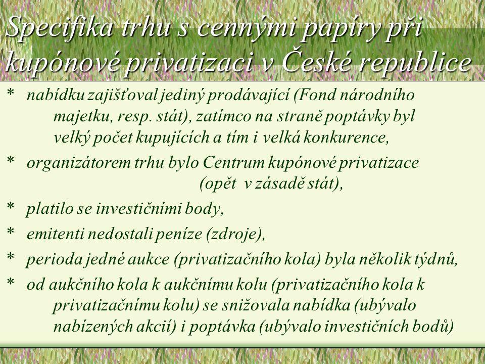 Specifika trhu s cennými papíry při kupónové privatizaci v České republice * nabídku zajišťoval jediný prodávající (Fond národního majetku, resp. stát
