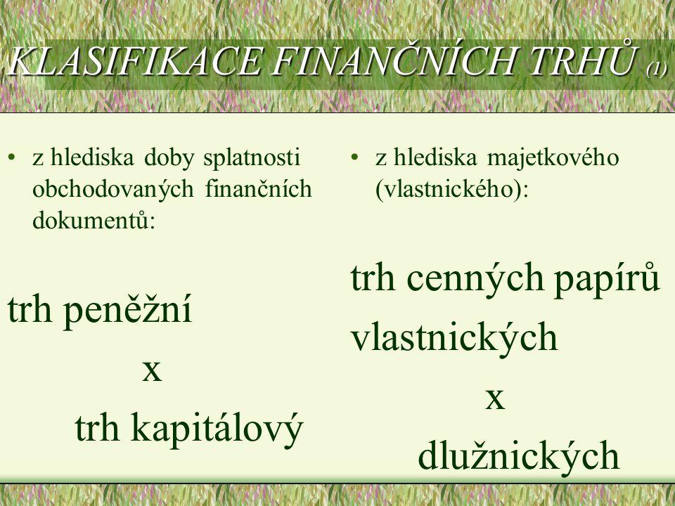 KLASIFIKACE FINANČNÍCH TRHŮ (1) z hlediska doby splatnosti obchodovaných finančních dokumentů: trh peněžní x trh kapitálový z hlediska majetkového (vl