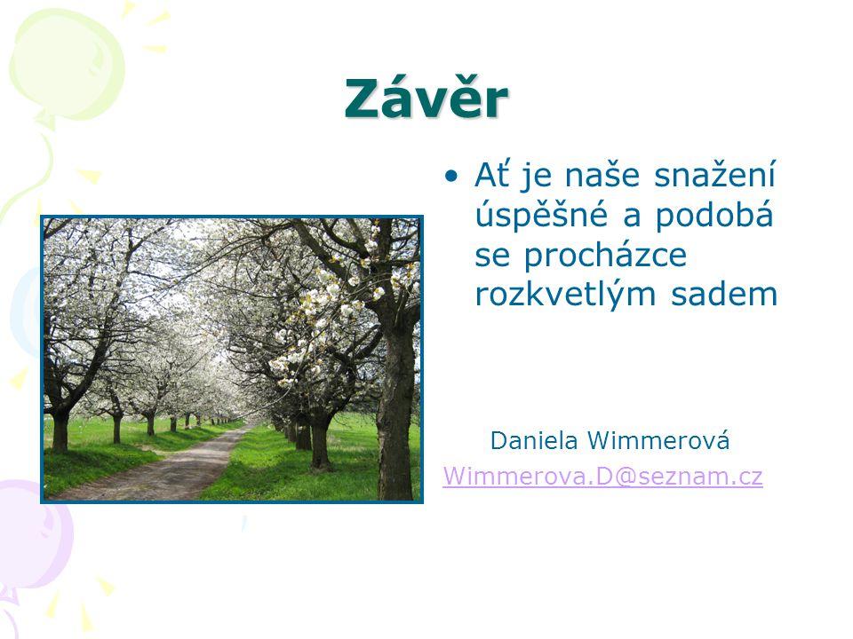 Závěr Ať je naše snažení úspěšné a podobá se procházce rozkvetlým sadem Daniela Wimmerová Wimmerova.D@seznam.cz