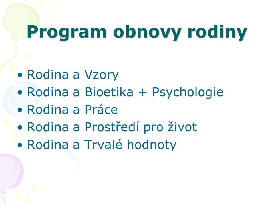 Program obnovy rodiny Rodina a Vzory Rodina a Bioetika + Psychologie Rodina a Práce Rodina a Prostředí pro život Rodina a Trvalé hodnoty