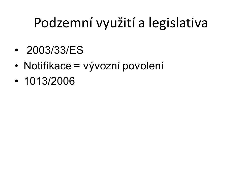 Podzemní využití a legislativa 2003/33/ES Notifikace = vývozní povolení 1013/2006