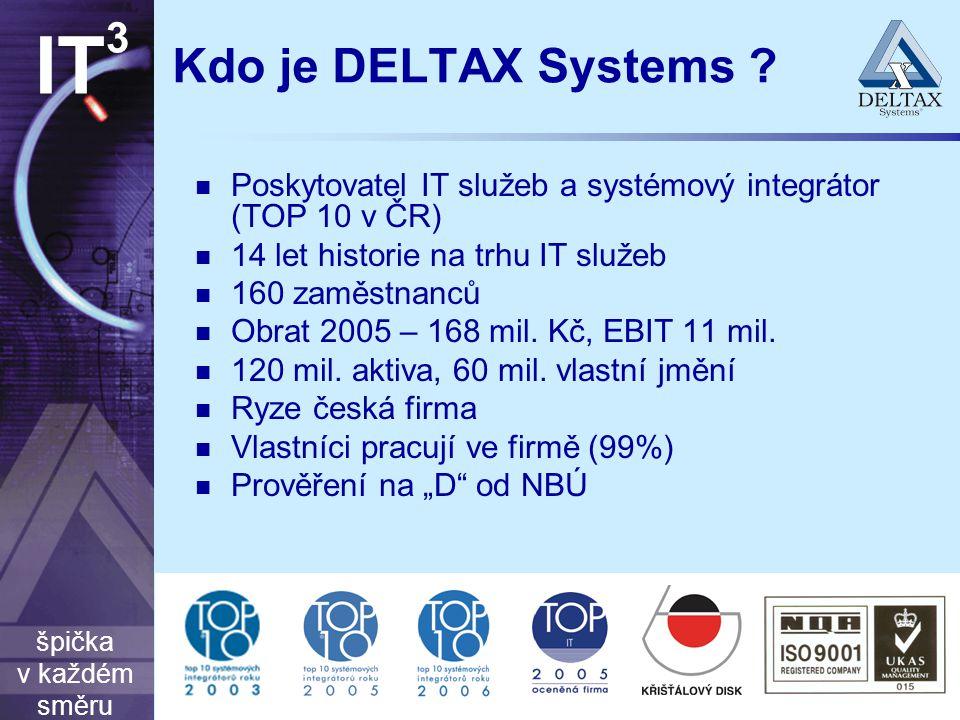 špička v každém směru IT 3 Kdo je DELTAX Systems ? Poskytovatel IT služeb a systémový integrátor (TOP 10 v ČR) 14 let historie na trhu IT služeb 160 z