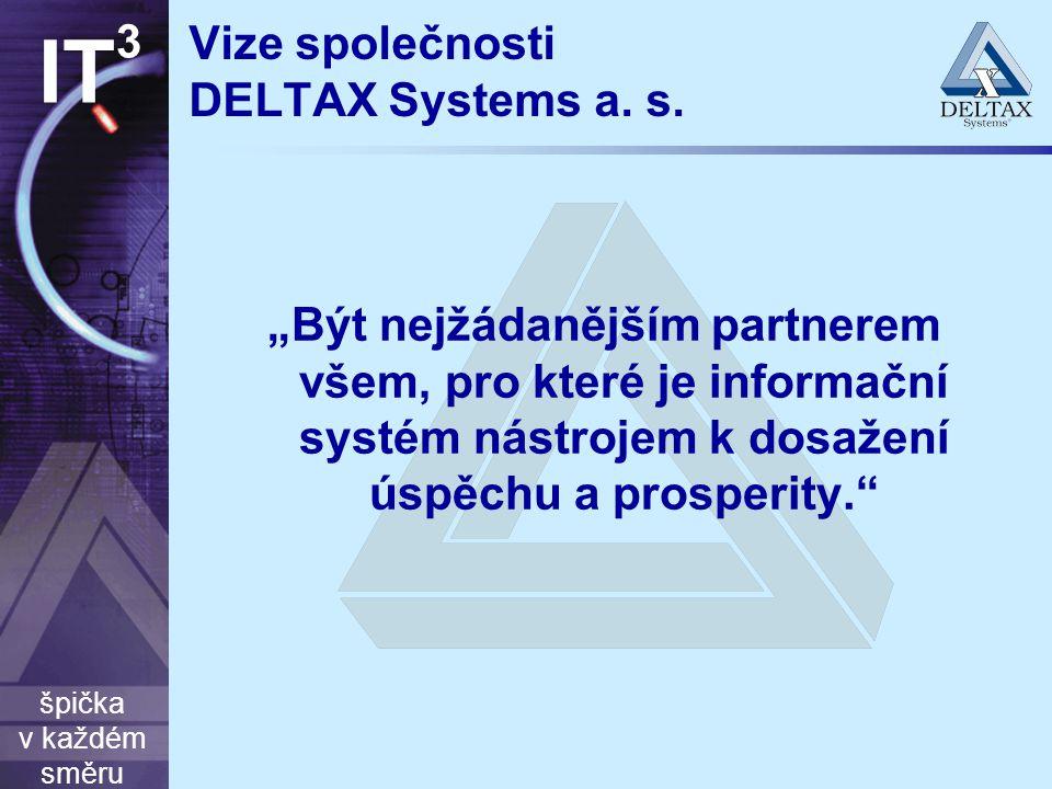 """špička v každém směru IT 3 Vize společnosti DELTAX Systems a. s. """"Být nejžádanějším partnerem všem, pro které je informační systém nástrojem k dosažen"""