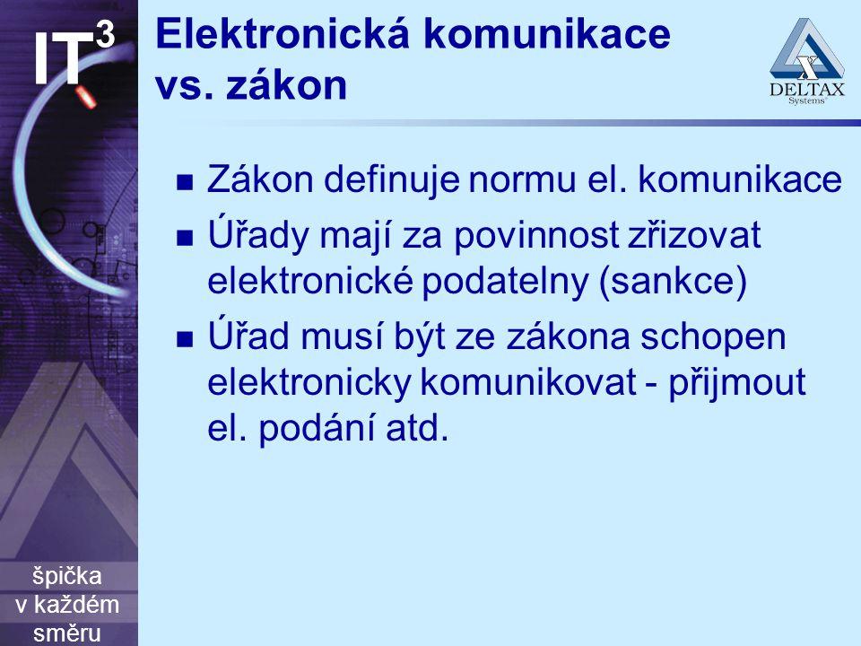 špička v každém směru IT 3 Elektronická komunikace vs. zákon Zákon definuje normu el. komunikace Úřady mají za povinnost zřizovat elektronické podatel