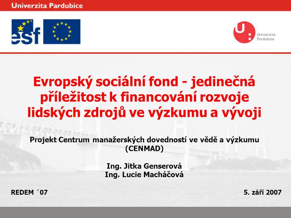 Evropský sociální fond - jedinečná příležitost k financování rozvoje lidských zdrojů ve výzkumu a vývoji Projekt Centrum manažerských dovedností ve vědě a výzkumu (CENMAD) Ing.