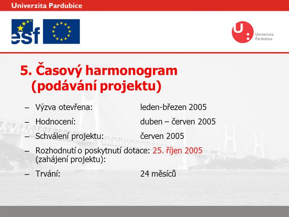 5. Časový harmonogram (podávání projektu) – Výzva otevřena: leden-březen 2005 – Hodnocení:duben – červen 2005 – Schválení projektu:červen 2005 – Rozho