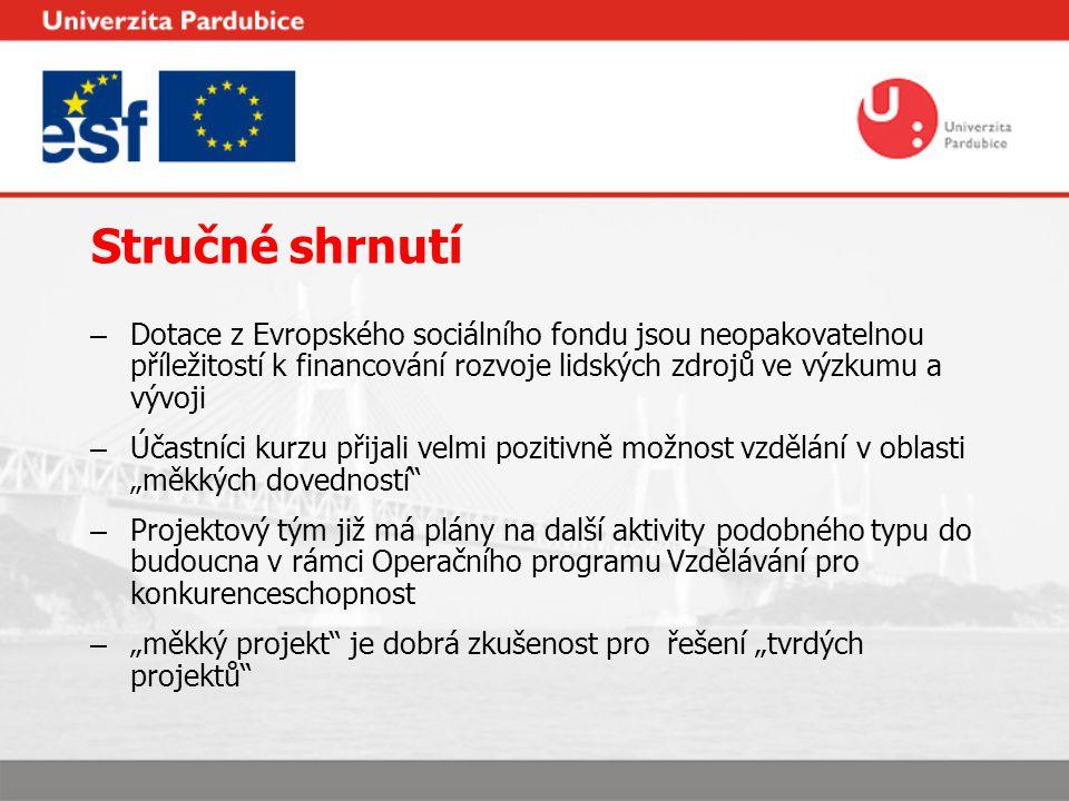 Stručné shrnutí – Dotace z Evropského sociálního fondu jsou neopakovatelnou příležitostí k financování rozvoje lidských zdrojů ve výzkumu a vývoji – Ú