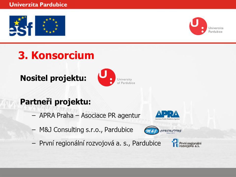 3. Konsorcium Nositel projektu: Partneři projektu: –APRA Praha – Asociace PR agentur –M&J Consulting s.r.o., Pardubice –První regionální rozvojová a.