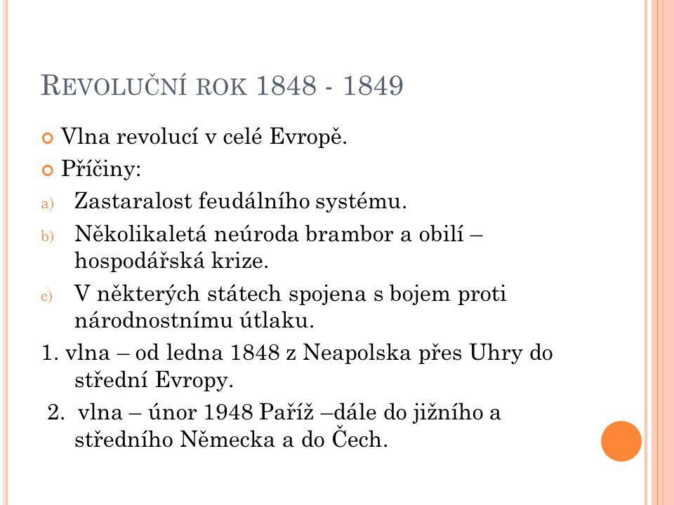 R EVOLUČNÍ ROK 1848 - 1849 Vlna revolucí v celé Evropě.