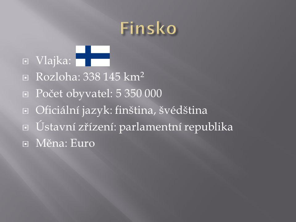  Vlajka:  Rozloha: 338 145 km 2  Počet obyvatel: 5 350 000  Oficiální jazyk: finština, švédština  Ústavní zřízení: parlamentní republika  Měna: Euro