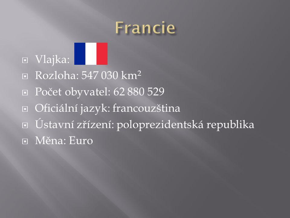  Vlajka:  Rozloha: 547 030 km 2  Počet obyvatel: 62 880 529  Oficiální jazyk: francouzština  Ústavní zřízení: poloprezidentská republika  Měna: Euro
