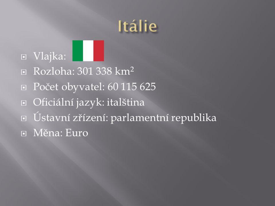  Vlajka:  Rozloha: 301 338 km 2  Počet obyvatel: 60 115 625  Oficiální jazyk: italština  Ústavní zřízení: parlamentní republika  Měna: Euro