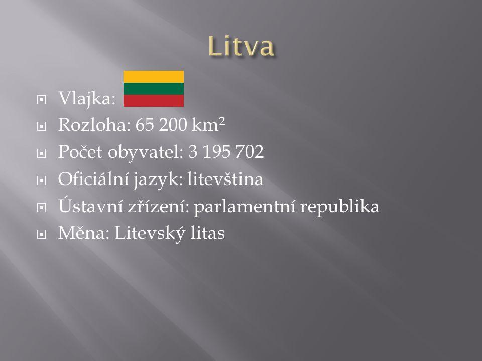  Vlajka:  Rozloha: 65 200 km 2  Počet obyvatel: 3 195 702  Oficiální jazyk: litevština  Ústavní zřízení: parlamentní republika  Měna: Litevský litas