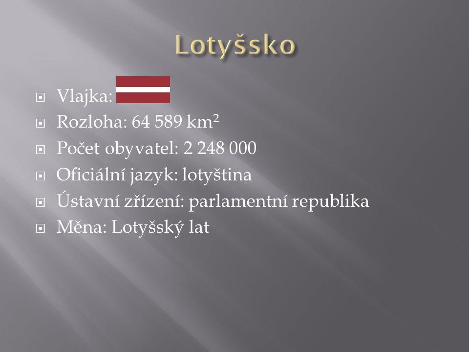 Vlajka:  Rozloha: 64 589 km 2  Počet obyvatel: 2 248 000  Oficiální jazyk: lotyština  Ústavní zřízení: parlamentní republika  Měna: Lotyšský la
