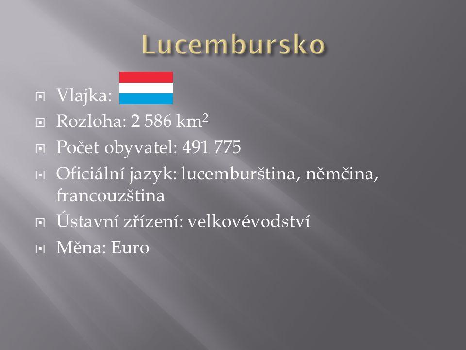  Vlajka:  Rozloha: 2 586 km 2  Počet obyvatel: 491 775  Oficiální jazyk: lucemburština, němčina, francouzština  Ústavní zřízení: velkovévodství  Měna: Euro