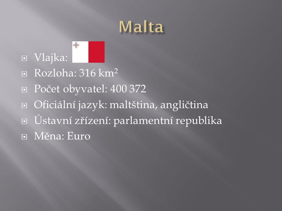  Vlajka:  Rozloha: 316 km 2  Počet obyvatel: 400 372  Oficiální jazyk: maltština, angličtina  Ústavní zřízení: parlamentní republika  Měna: Euro