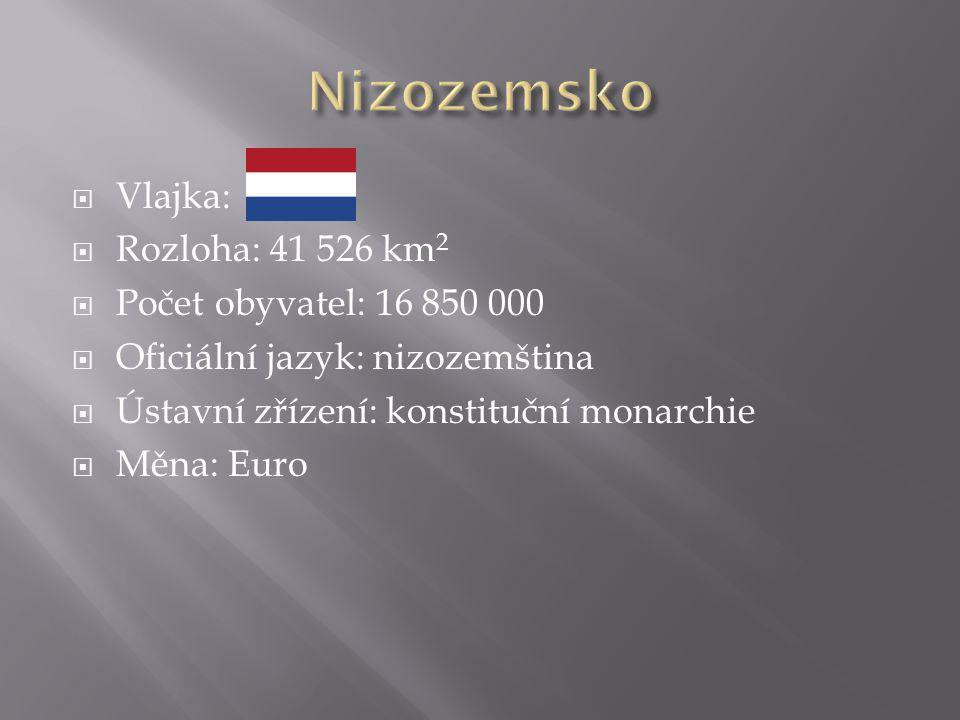  Vlajka:  Rozloha: 41 526 km 2  Počet obyvatel: 16 850 000  Oficiální jazyk: nizozemština  Ústavní zřízení: konstituční monarchie  Měna: Euro