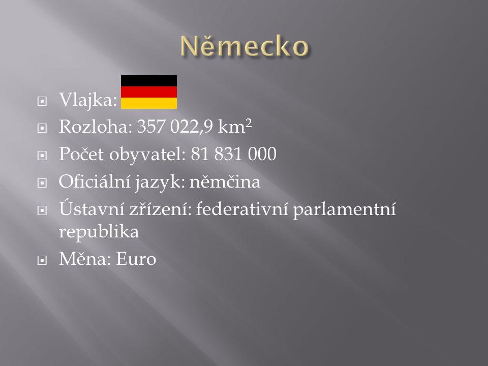  Vlajka:  Rozloha: 357 022,9 km 2  Počet obyvatel: 81 831 000  Oficiální jazyk: němčina  Ústavní zřízení: federativní parlamentní republika  Měna: Euro