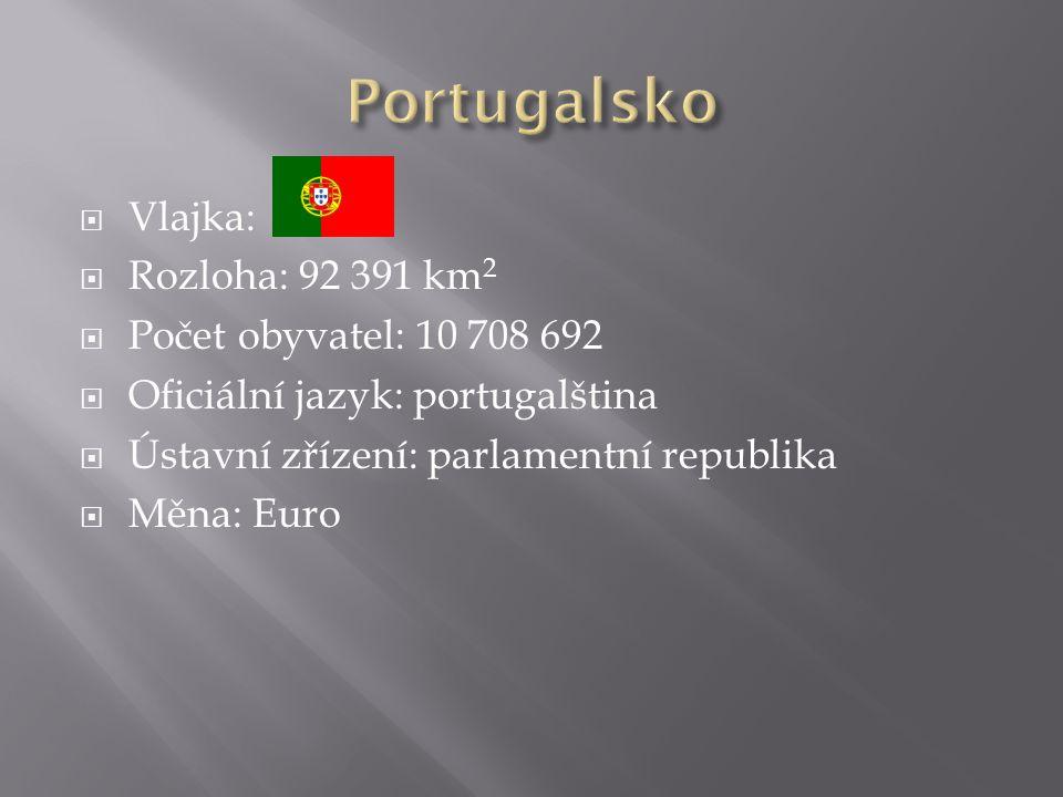  Vlajka:  Rozloha: 92 391 km 2  Počet obyvatel: 10 708 692  Oficiální jazyk: portugalština  Ústavní zřízení: parlamentní republika  Měna: Euro