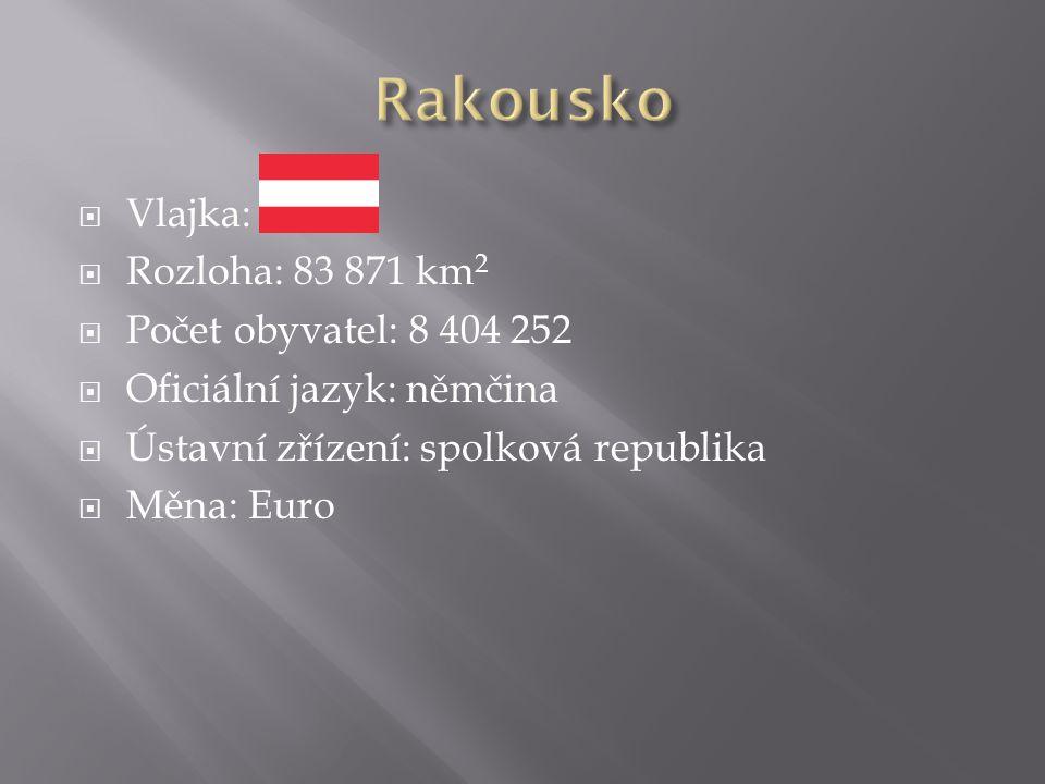  Vlajka:  Rozloha: 83 871 km 2  Počet obyvatel: 8 404 252  Oficiální jazyk: němčina  Ústavní zřízení: spolková republika  Měna: Euro