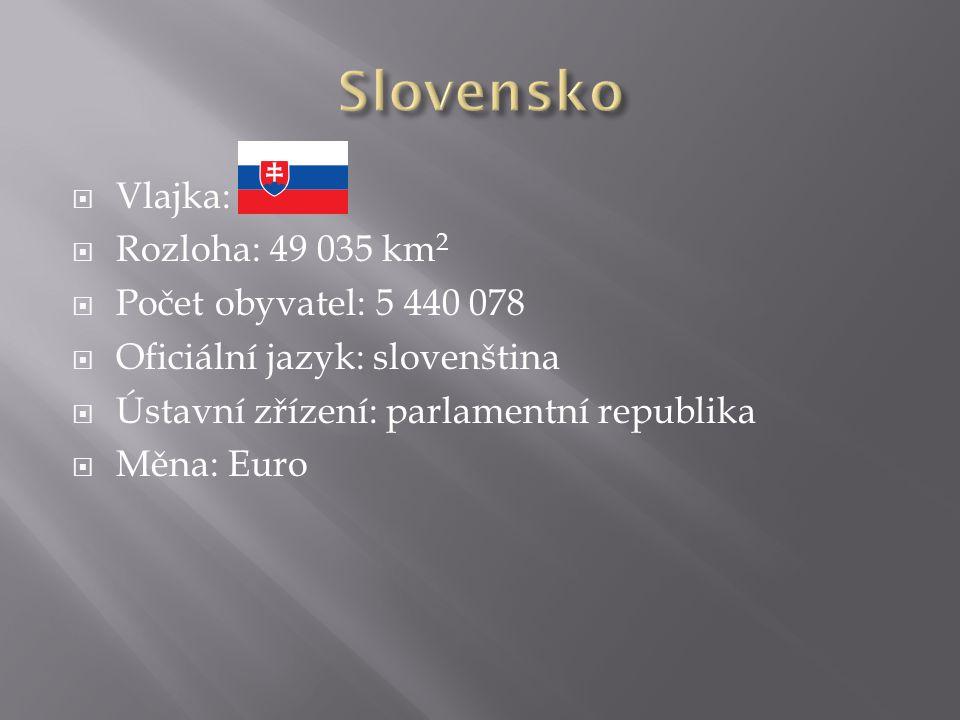  Vlajka:  Rozloha: 49 035 km 2  Počet obyvatel: 5 440 078  Oficiální jazyk: slovenština  Ústavní zřízení: parlamentní republika  Měna: Euro