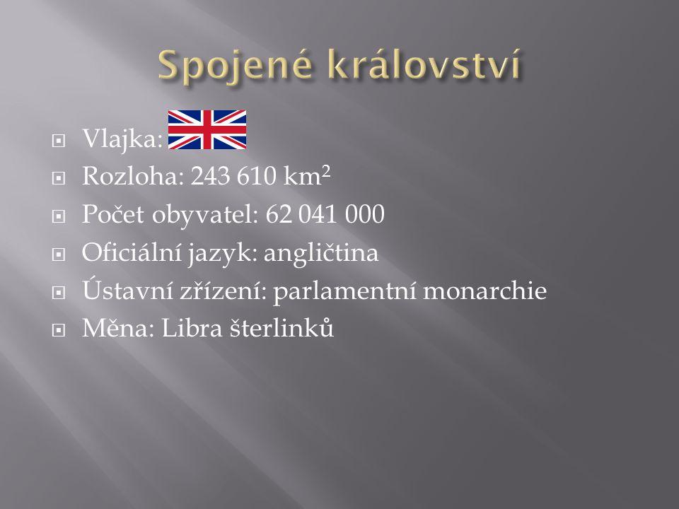  Vlajka:  Rozloha: 243 610 km 2  Počet obyvatel: 62 041 000  Oficiální jazyk: angličtina  Ústavní zřízení: parlamentní monarchie  Měna: Libra šterlinků