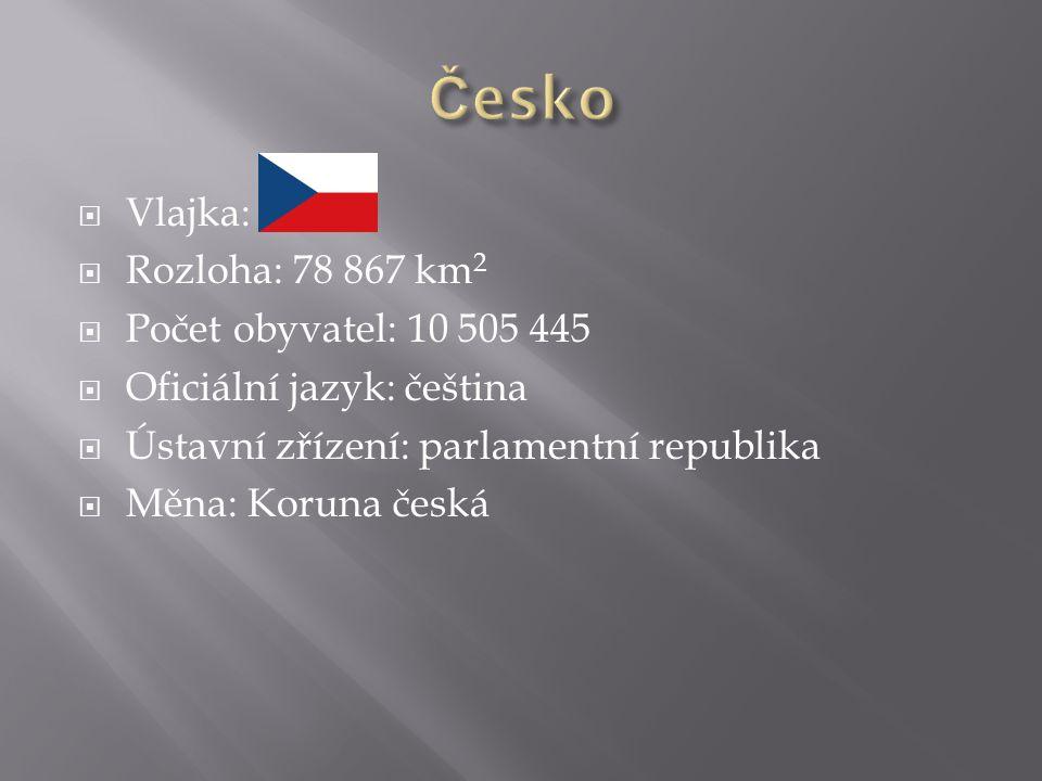  Vlajka:  Rozloha: 78 867 km 2  Počet obyvatel: 10 505 445  Oficiální jazyk: čeština  Ústavní zřízení: parlamentní republika  Měna: Koruna česká