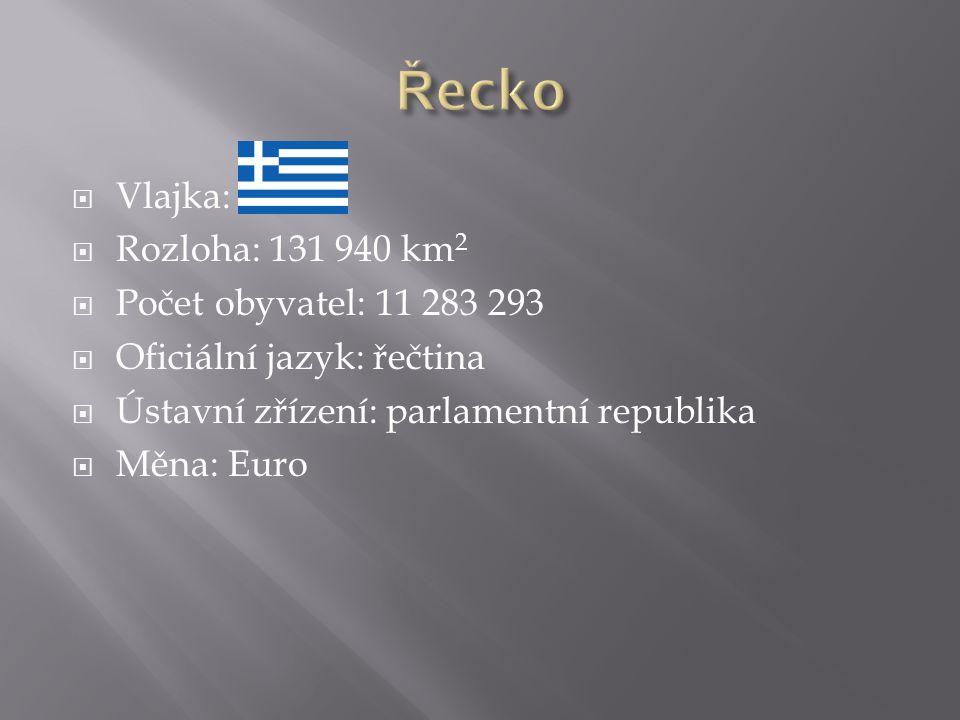  Vlajka:  Rozloha: 131 940 km 2  Počet obyvatel: 11 283 293  Oficiální jazyk: řečtina  Ústavní zřízení: parlamentní republika  Měna: Euro