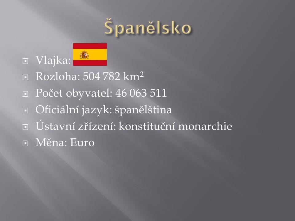  Vlajka:  Rozloha: 504 782 km 2  Počet obyvatel: 46 063 511  Oficiální jazyk: španělština  Ústavní zřízení: konstituční monarchie  Měna: Euro