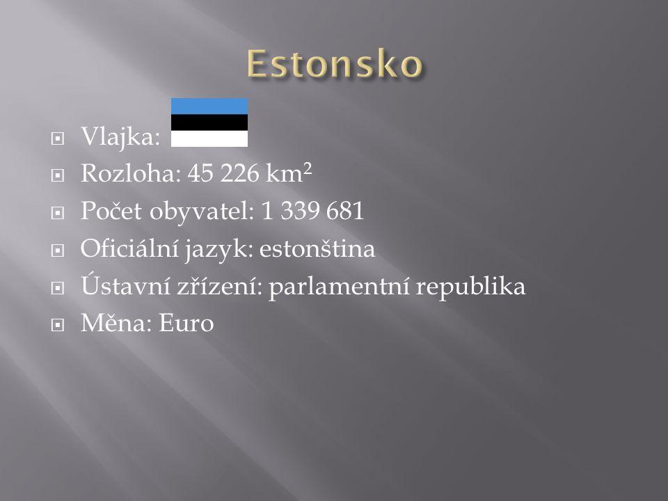  Vlajka:  Rozloha: 45 226 km 2  Počet obyvatel: 1 339 681  Oficiální jazyk: estonština  Ústavní zřízení: parlamentní republika  Měna: Euro