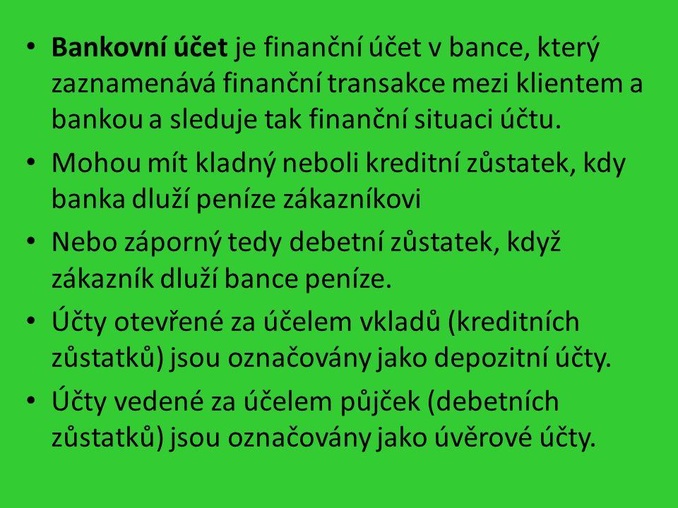 Zřízení bankovního účtu Je založeno na smlouvě o vedení účtu.