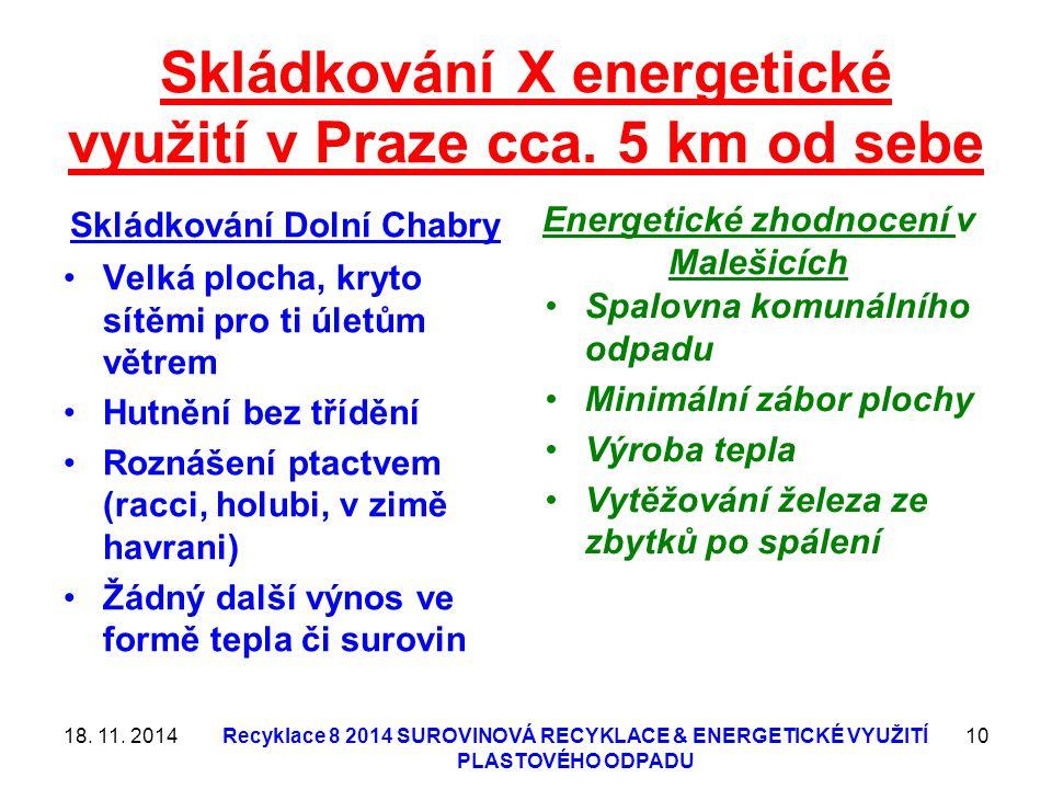 Skládkování X energetické využití v Praze cca. 5 km od sebe Skládkování Dolní Chabry Velká plocha, kryto sítěmi pro ti úletům větrem Hutnění bez třídě