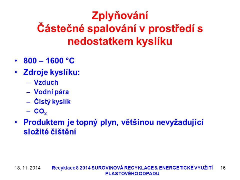 Zplyňování Částečné spalování v prostředí s nedostatkem kyslíku 800 – 1600 °C Zdroje kyslíku: –Vzduch –Vodní pára –Čistý kyslík –CO 2 Produktem je top