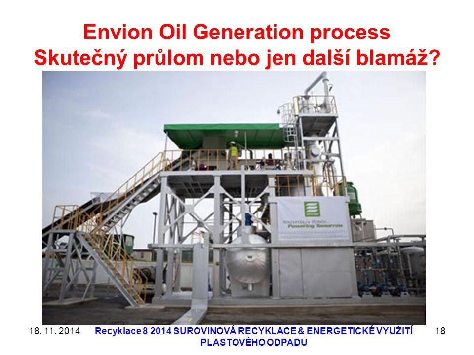 Envion Oil Generation process Skutečný průlom nebo jen další blamáž? 18. 11. 2014Recyklace 8 2014 SUROVINOVÁ RECYKLACE & ENERGETICKÉ VYUŽITÍ PLASTOVÉH