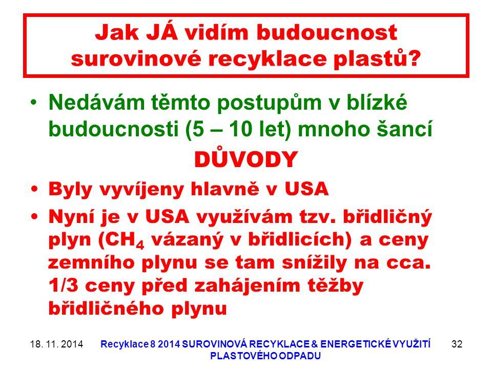18. 11. 2014Recyklace 8 2014 SUROVINOVÁ RECYKLACE & ENERGETICKÉ VYUŽITÍ PLASTOVÉHO ODPADU 32 Jak JÁ vidím budoucnost surovinové recyklace plastů? Nedá