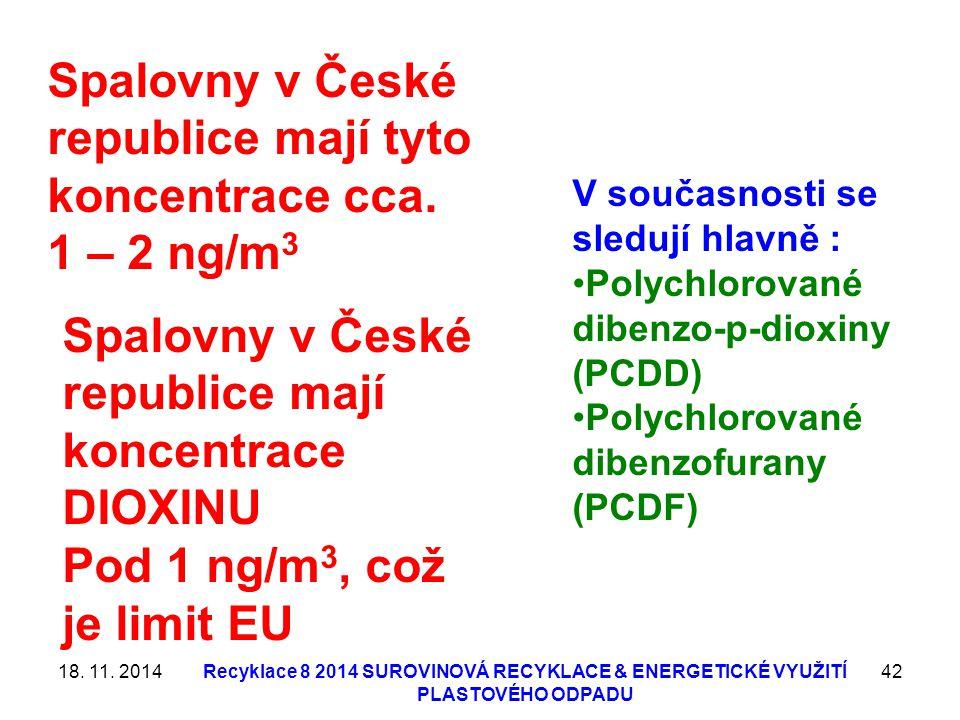 18. 11. 2014Recyklace 8 2014 SUROVINOVÁ RECYKLACE & ENERGETICKÉ VYUŽITÍ PLASTOVÉHO ODPADU 42 V současnosti se sledují hlavně : Polychlorované dibenzo-